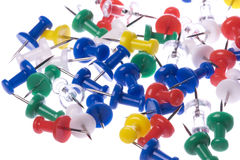 Colourful Thumbtacks Isolated Royalty Free Stock Images