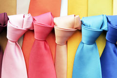 Colourful Ties. Many Colourful Ties In A Row, Clothing Accessory Stock Photo