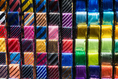 Colourful ties. Full of different patterns Royalty Free Stock Photos