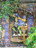 Colourful tile of man making pottery. Colourful tiles of man making pottery  on Isola Bella in Italy Royalty Free Stock Images