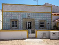Tiled House On Ilha De Culatra Portugal stock images