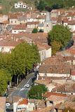 France, Languedoc-Roussillon, Herault, Saint Chinian, St-Chinian, Rooftops. The colourful tiled rooftops of Saint Chinian, Herault 34, Languedoc-Roussillon Royalty Free Stock Photo