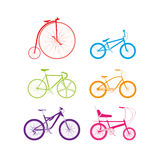Colourful tinted bikes Stock Image