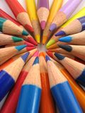 Colourful Tips. Tips of colour pencils - colourful and arranged in a circle stock photo