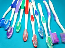 colourful toothbrushes fotografia stock