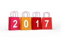 Colourful torba na zakupy z 2017 Pojęcie rabat Sześcianów charakterów papier w papierowych torbach ilustracja wektor