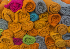 Colourful towels at market. Nice colourful towels at night market Royalty Free Stock Image