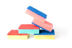 Colourful tower of kitchen scourers. Royalty Free Stock Photos