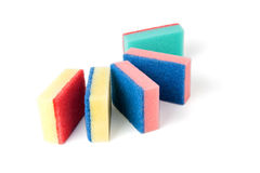 Colourful tower of kitchen scourers. Royalty Free Stock Images
