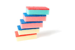 Colourful tower of kitchen scourers. Royalty Free Stock Image