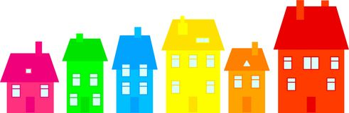 Colourful town. Row of colourful village houses isolated on white Stock Images
