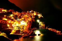 A colourful town at night Royalty Free Stock Image