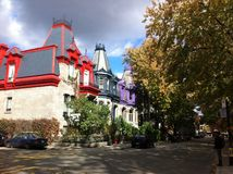 Colourful townhouses in Montreal Stock Photos