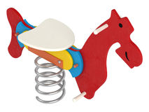Colourful toy jumping horse Royalty Free Stock Photography
