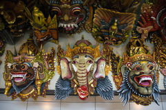 Colourful Traditional Balinese masks Stock Images