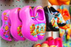 Colourful traditional Dutch wooden shoes Stock Photography