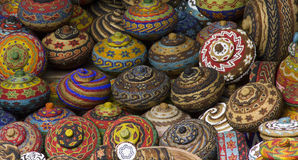 Colourful traditional handicraft basket Royalty Free Stock Photos