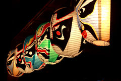 Colourful traditional Japanese light lanterns. At night Stock Photo
