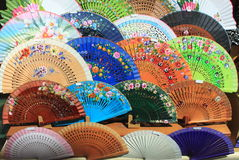 Colourful traditional spanish fans Stock Photos