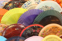 Colourful traditional spanish fans Stock Image