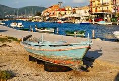 Colourful Wooden Fishing Boat, Lefkada Greek island, Greece stock photo