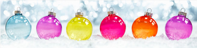 Colourful Translucent Christmas Baubles Royalty Free Stock Image