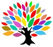 Colourful tree. Isolated line art work Vector Illustration