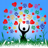 Colourful Tree Indicates Valentines Day And Color Royalty Free Stock Images