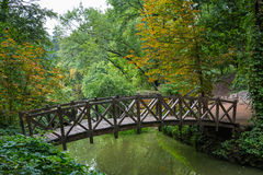 Colourful trees and old wooden bridge in Sofiyivsky park - Uman, Ukraine, Europe. Autumn in sofievka. Old wooden bridge Stock Image