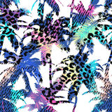 Colourful trendy seamless exotic pattern with palm, animal prints and hand drawn textures. Modern abstract design for paper, wallp Royalty Free Stock Photography