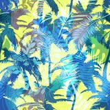 Colourful trendy seamless exotic pattern with palm and tropical plants. Modern abstract design for paper, wallpaper stock illustration