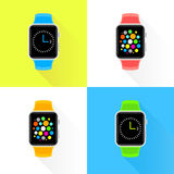 Colourful trendy smartwatch flat design set Stock Image