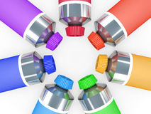 Colourful tubes of a paint Stock Photos