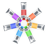 Colourful tubes of a paint Royalty Free Stock Photography