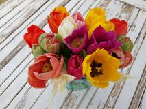 Colourful tulipany na rocznika stole Zdjęcia Royalty Free