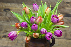 Colourful tulips in a vase Royalty Free Stock Images
