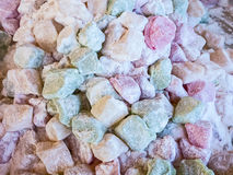 Colourful Turkish Delight. Many multi-coloured pieces of Turkish delight, sugar coated, for sale at street market stock images