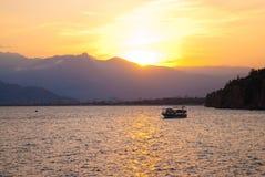 Colourful turkish sunset. Antalya, Turkey stock images