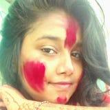 Colourful twarz w Holi festiwalu Zdjęcia Stock