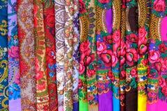 Colourful ukrainian shawls Stock Photos