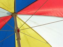 Colourful umbrella. Red, blue, white umbrella detail Royalty Free Stock Images