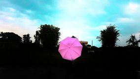 Colourful umbrella in the dark royalty free stock photography