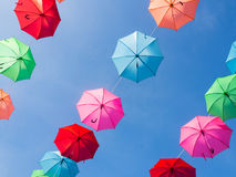 Colourful umbrella hanging Stock Photography