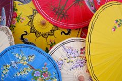 Colourful. Umbrella of Thailand Stock Images