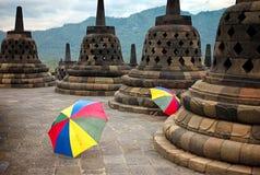 Colourful umbrellas, Borobudur Buddhist temple, Java, Indonesia Stock Image