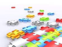 Colourful unfinished puzzle - 3d render 2 Stock Photo