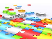 Colourful unfinished puzzle - 3d render Stock Photo