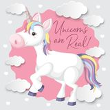 A Colourful Unicorn with Cloud Background. Illustration Vector Illustration