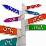Colourful URL Signpost Shows WWW. Stock Images
