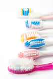 Colourful used toothbrushes Stock Photos